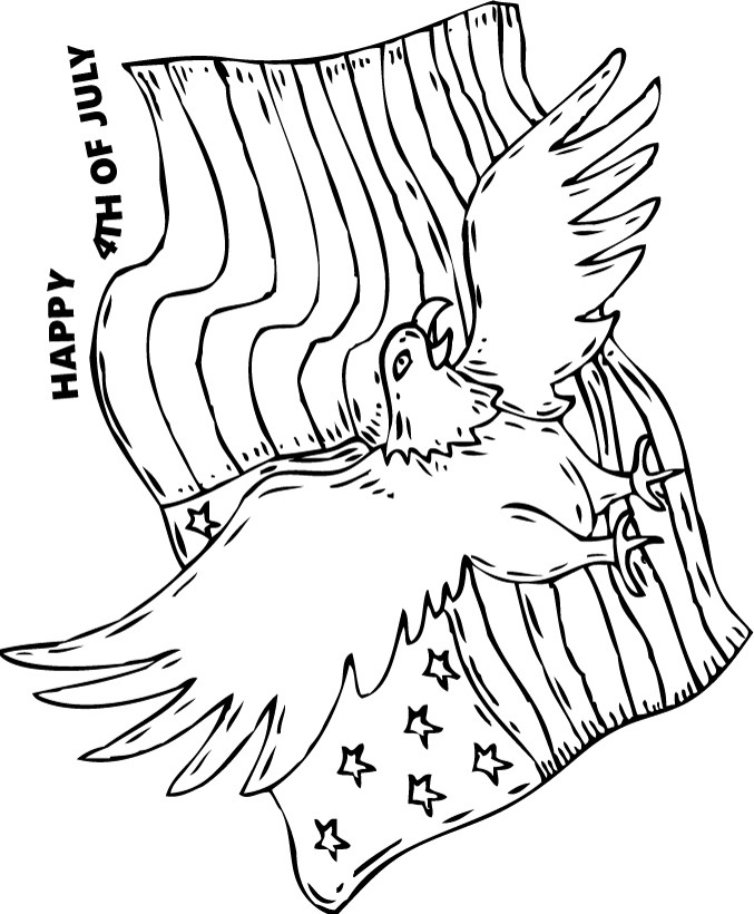677x820 Bald Eagle And American Flag Coloring Pages