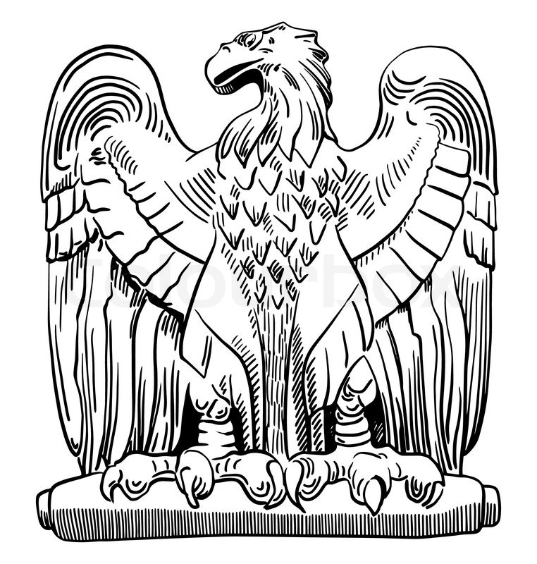 762x800 Black And White Sketch Digital Drawing Of Heraldic Sculpture Eagle