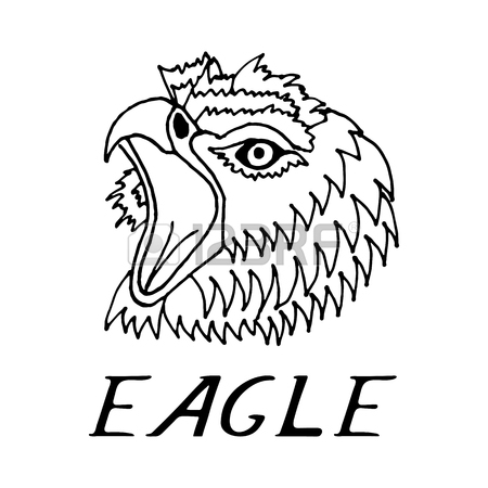 450x450 Hand Draw Eagle's Head In The Style Of The Sketch, On Black