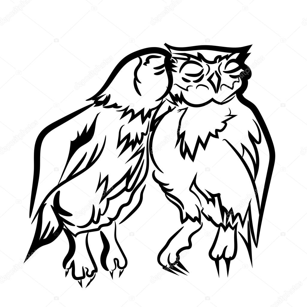 1024x1024 Love. Eagle Owl. Birds. Black White Hand Drawn Doodle.vector