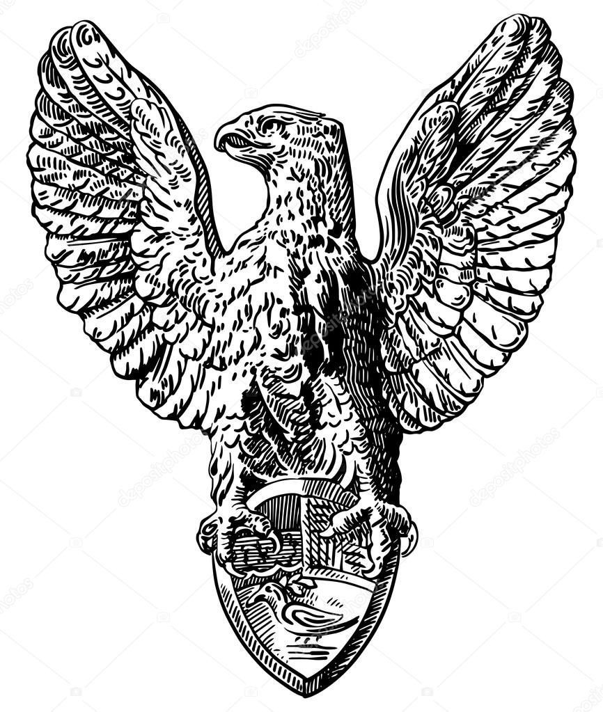 866x1023 Black And White Drawing Of Heraldic Sculpture Eagle Stock Vector