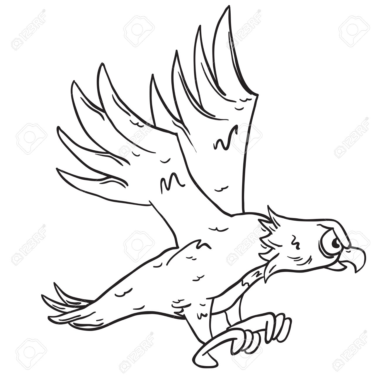 1300x1300 Simple Black And White Eagle Cartoon Royalty Free Cliparts