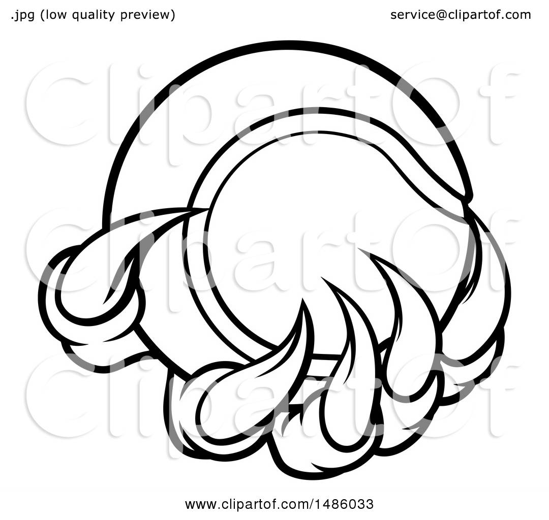 1080x1024 Clipart Of Black And White Monster Or Eagle Claws Holding A Tennis