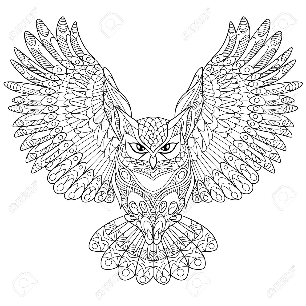 1300x1300 Cartoon Eagle Owl, Isolated On White Background. Hand Drawn Sketch