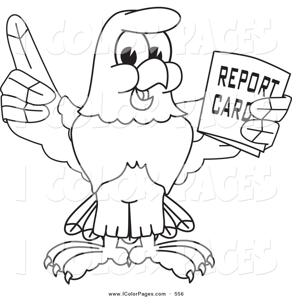 1024x1044 Vector Coloring Page Of Bald Eagle Hawk Or Falcon Holding