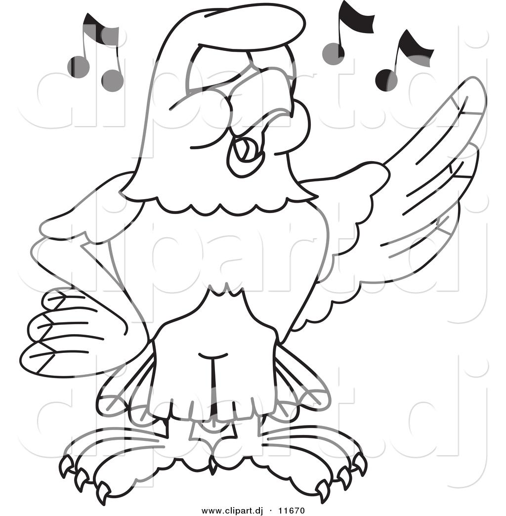 1024x1044 Vector Of A Cartoon Falcon Singing
