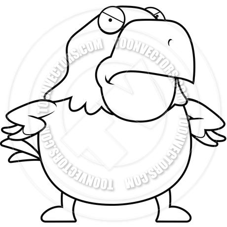 460x460 Cartoon Bald Eagle Angry (Black And White Line Art) By Cory Thoman