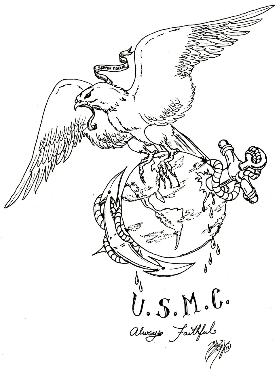962x1280 Eagle Globe And Anchor Line Drawing Images