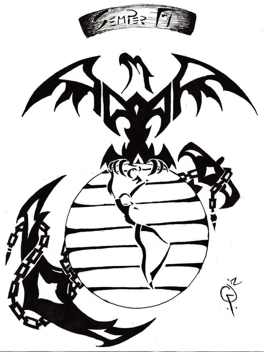 900x1197 Tribal Marine Tattoo By Goodly8663