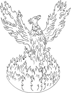 227x300 Drawing Sketch Style Illustration Of A Phoenix Rising Up