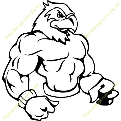500x500 Hawk Mascot Clipart
