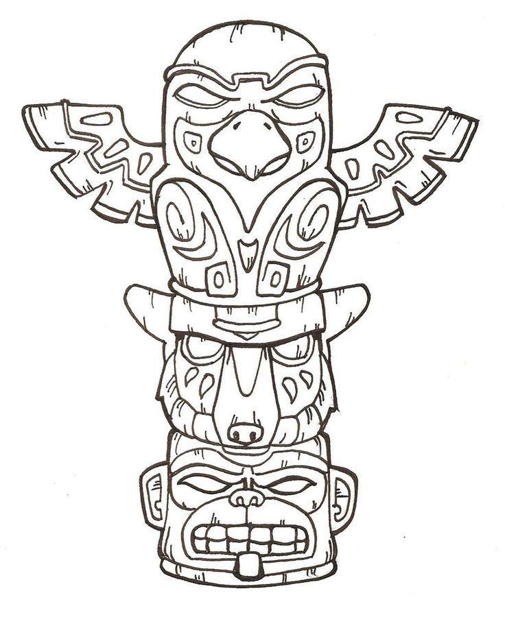 Eagle Totem Pole Drawing