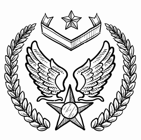 539x534 Doodle Style Military Insignia For Us Air Force Including Eagle