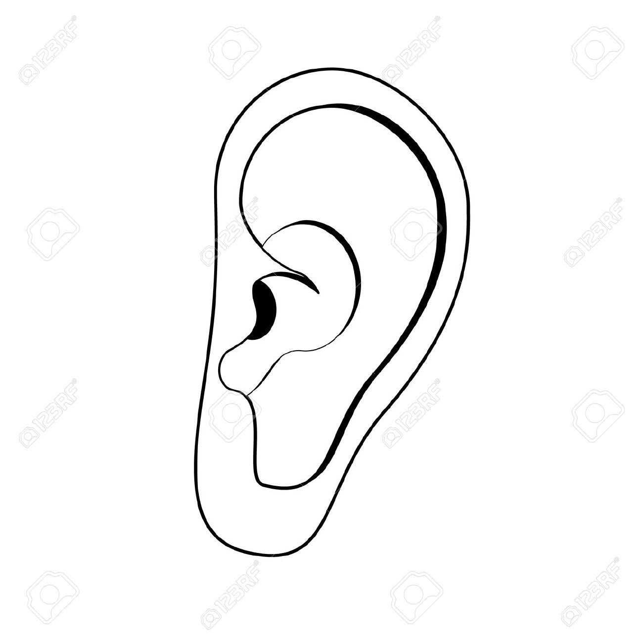 1300x1300 Raster Illustration Of Human Ear. Ear Icon, Symbol. Deaf, Ear