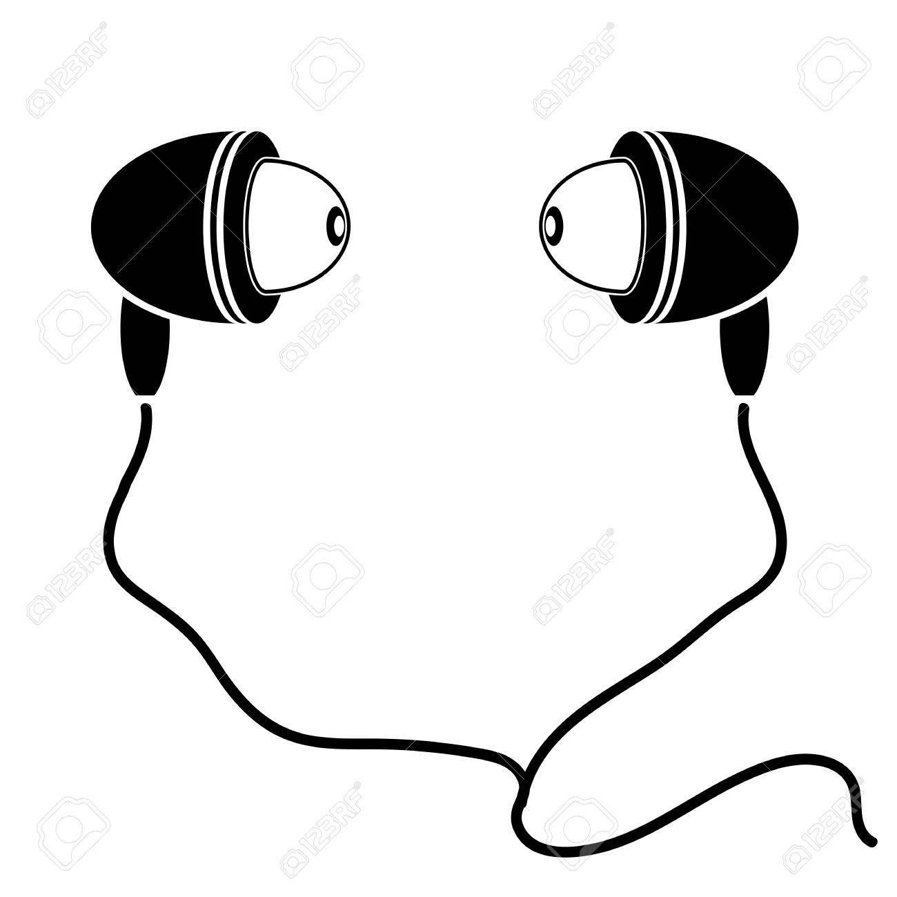 1300x1300 Earphones Silhouette Isolated On White Background. Earphone Symbol