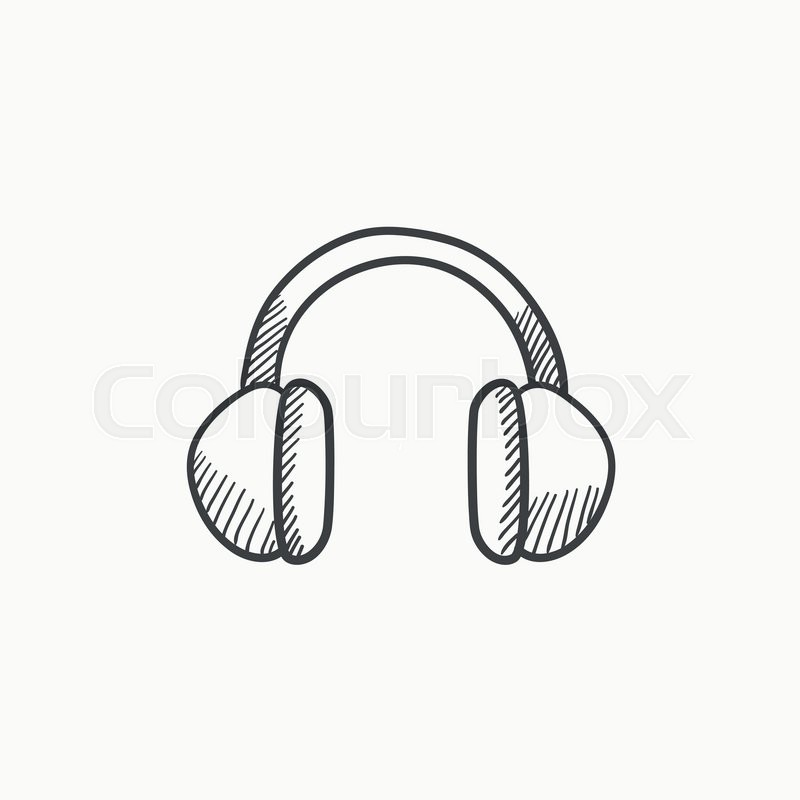 800x800 Headphone Vector Sketch Icon Isolated On Background. Hand Drawn
