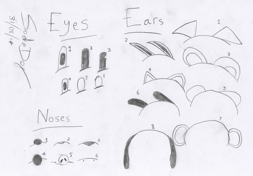 1071x745 Drawing Toon Ears, Eyes And Noses By Sodadog