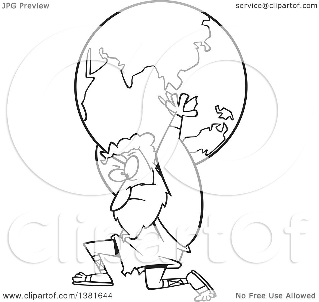 1080x1024 Clipart Of A Cartoon Black And White Greek God, Atlas, Carrying