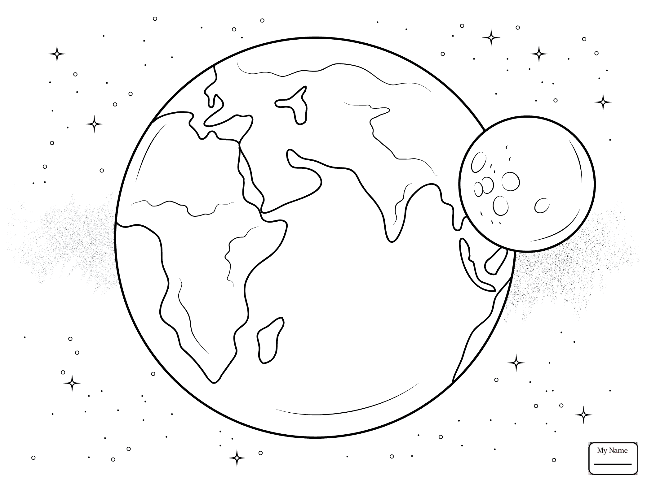 2087x1557 Coloring Pages Space Astronomy Cartoon Earth Character Planets