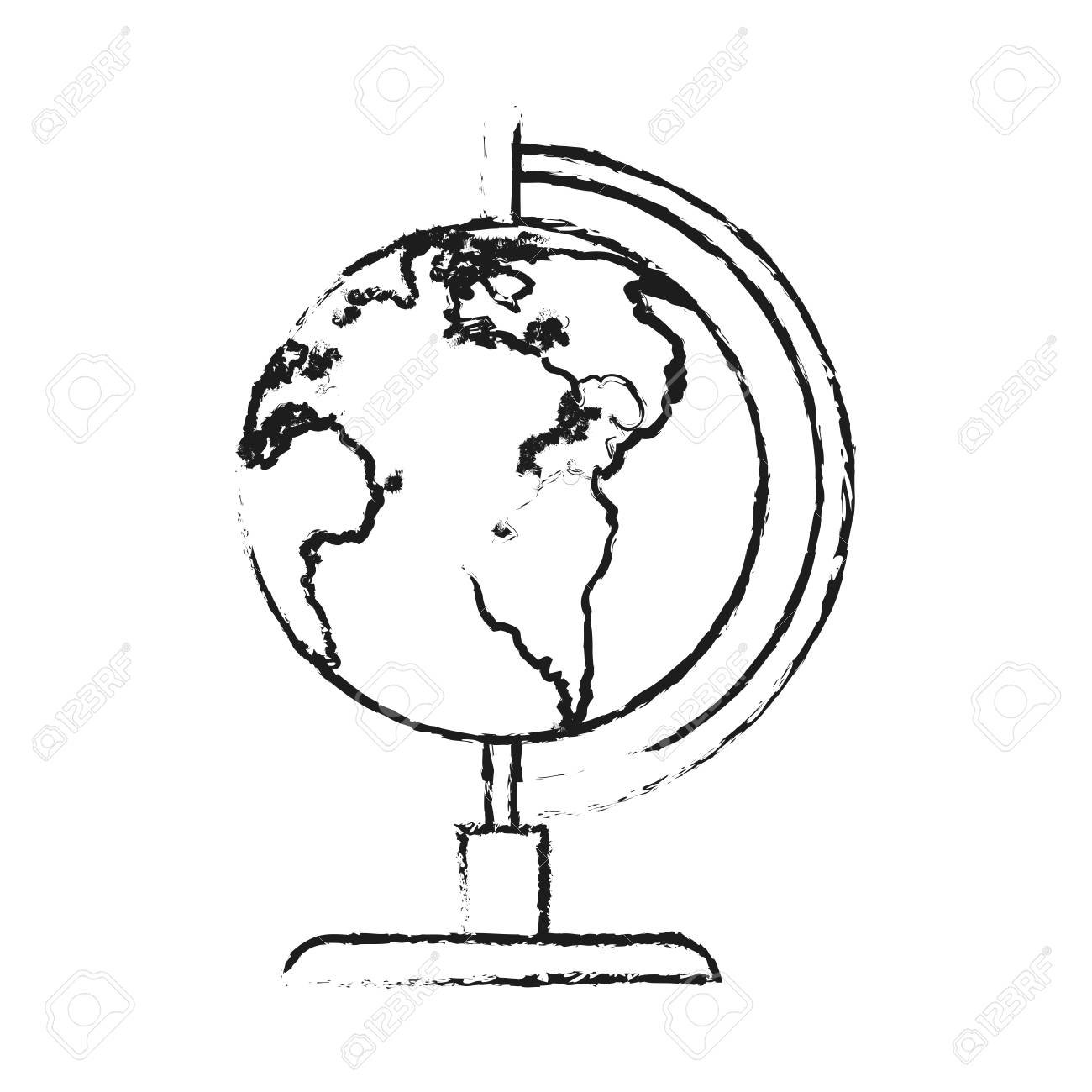 1300x1300 Blurred Silhouette Image Cartoon Earth Globe Vector Illustration