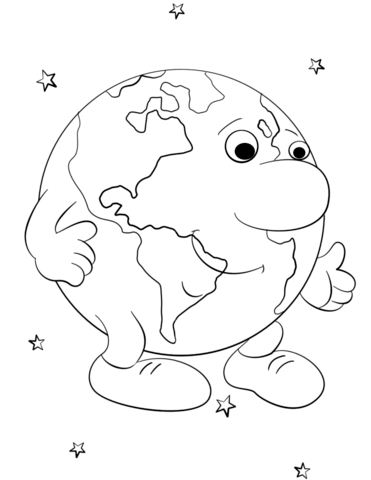 371x480 Cartoon Earth Character Coloring Page Free Printable Coloring Pages