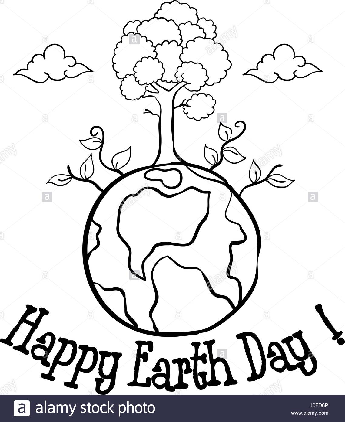 1139x1390 Happy Earth Day With Tree Hand Draw Stock Vector Art