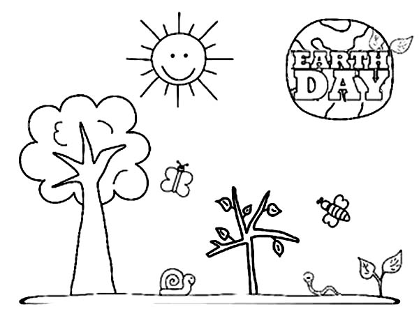 600x463 A Kinds Drawing About Earth Day Coloring Page