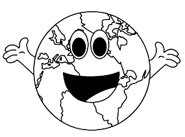 600x444 A Cheerful Mr Earth Day Coloring Page