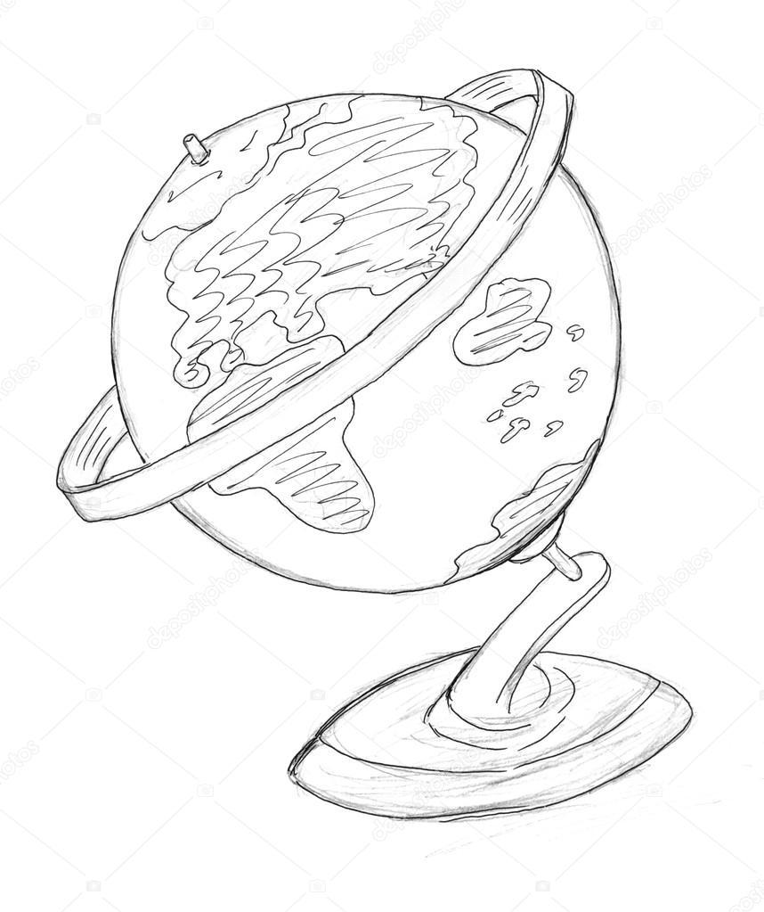 858x1023 Globe Drawing Stock Photo Nadyaus