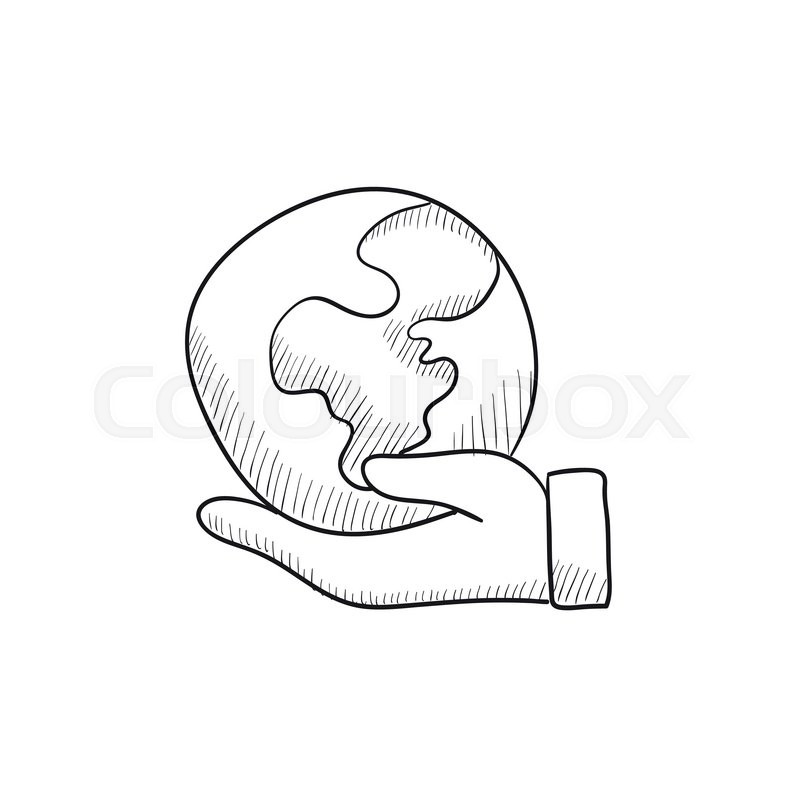 800x800 Hand holding the Earth vector sketch icon isolated on background