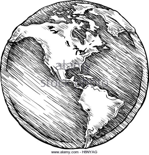 Line Drawing Earth : Earth globe drawing at getdrawings free for personal