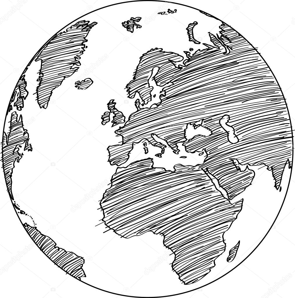 Earth globe drawing at getdrawings free for personal use earth 1013x1023 world map earth globe vector line sketched up illustrator eps 10 gumiabroncs Images