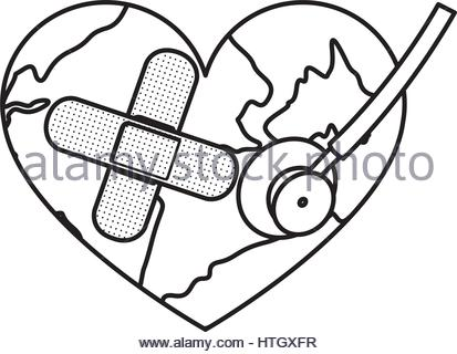413x320 Figure Earth Planet Heart With Band Aid Icon Stock Vector Art