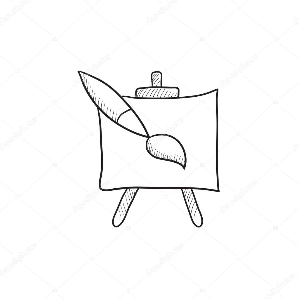 1024x1024 Easel And Paint Brush Sketch Icon. Stock Vector Rastudio