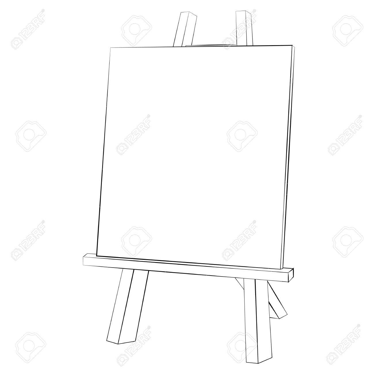 1300x1300 Black Outline Vector Easel Painting On White Background. Royalty