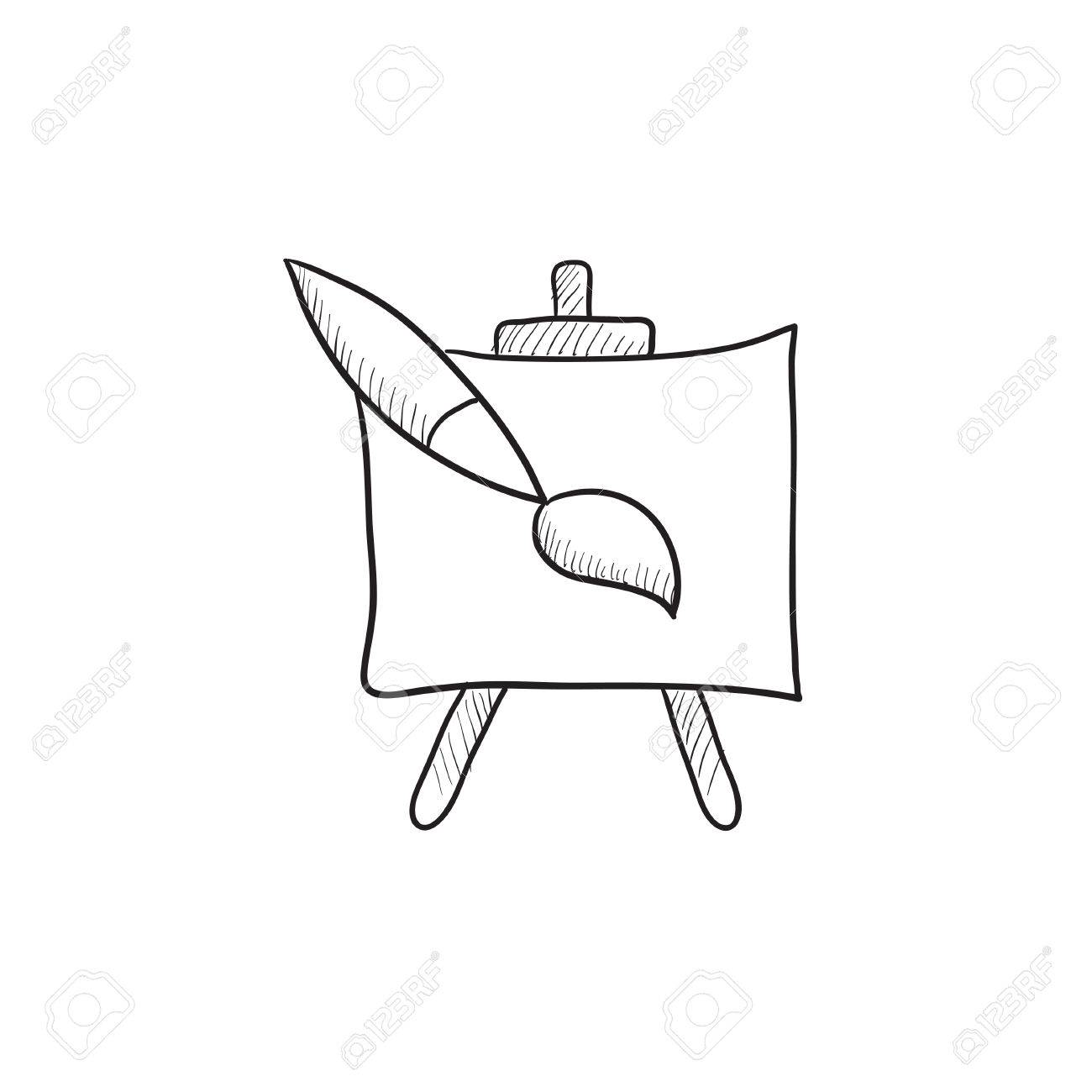 1300x1300 Easel And Paint Brush Vector Sketch Icon Isolated On Background