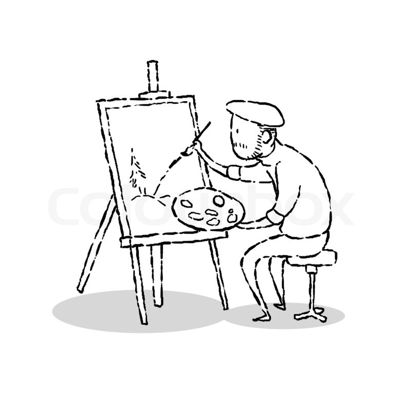 800x800 Image Drawing Cartoon Style Of Man Drawing Picture Stock Photo