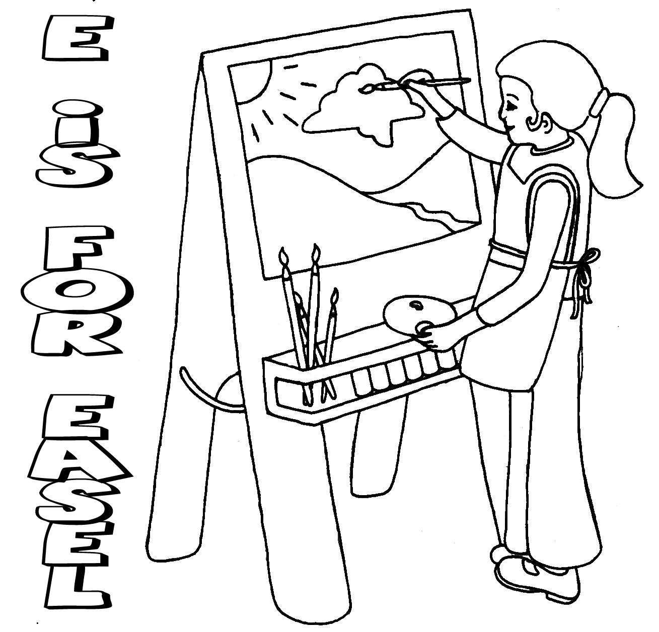 1309x1256 Artist Easel Coloring Pages