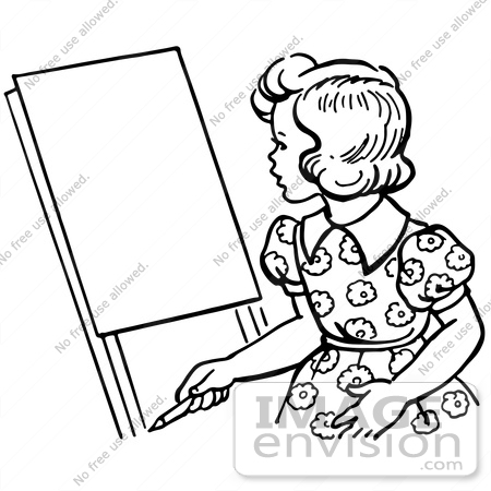 450x450 Clipart Of A Retro Girl Looking At An Easel In Black And White
