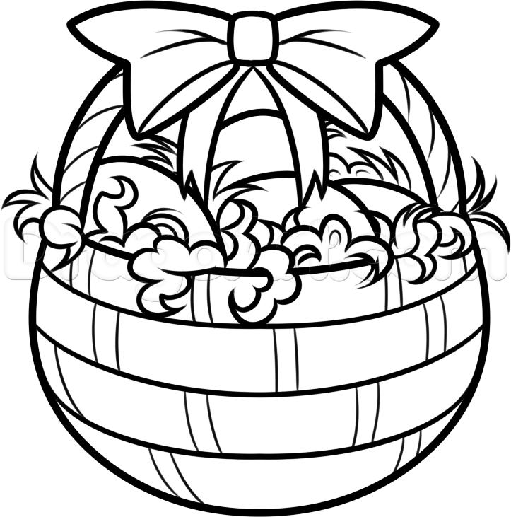723x731 Easter Basket Drawing Happy Easter Easter Baskets
