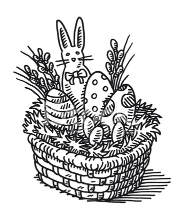 366x439 Easter Basket Drawing Stock Vector
