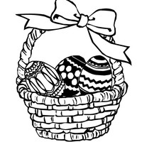200x200 Easter Basket Filled With Eggs Coloring Page