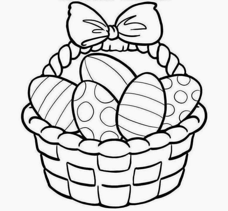 768x711 Printable] Easter Baskets, Coloring Pages, Drawings, Clip Art