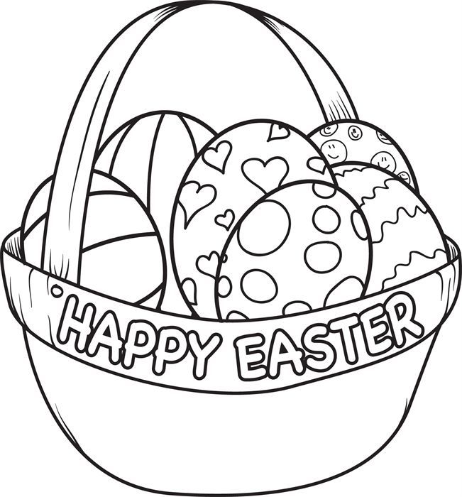 651x700 Easter Egg Color Page Easter Egg Basket Egg Coloring And Coloring