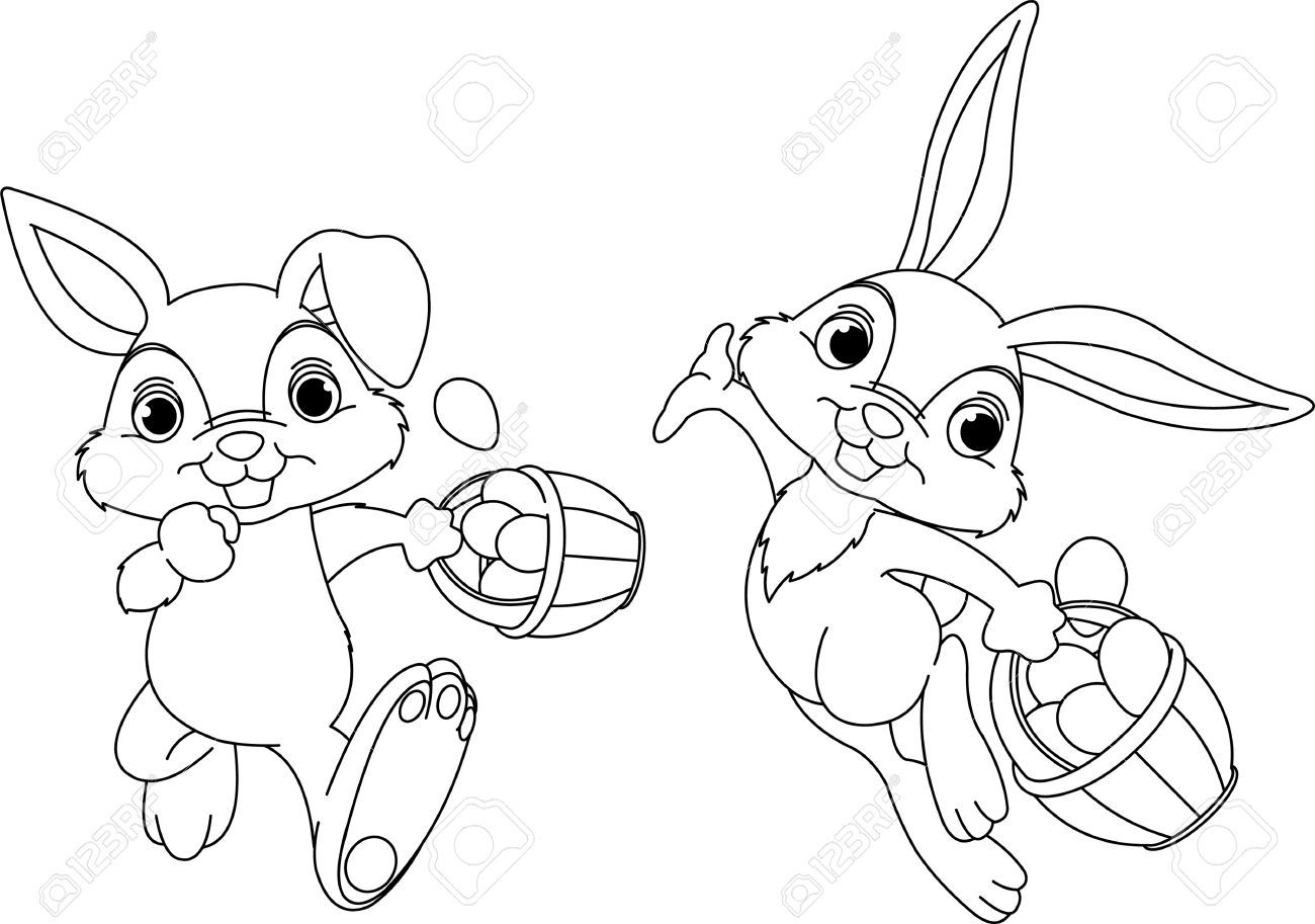 1300x913 Easter Bunny Drawings Pages Happy Easter 2018