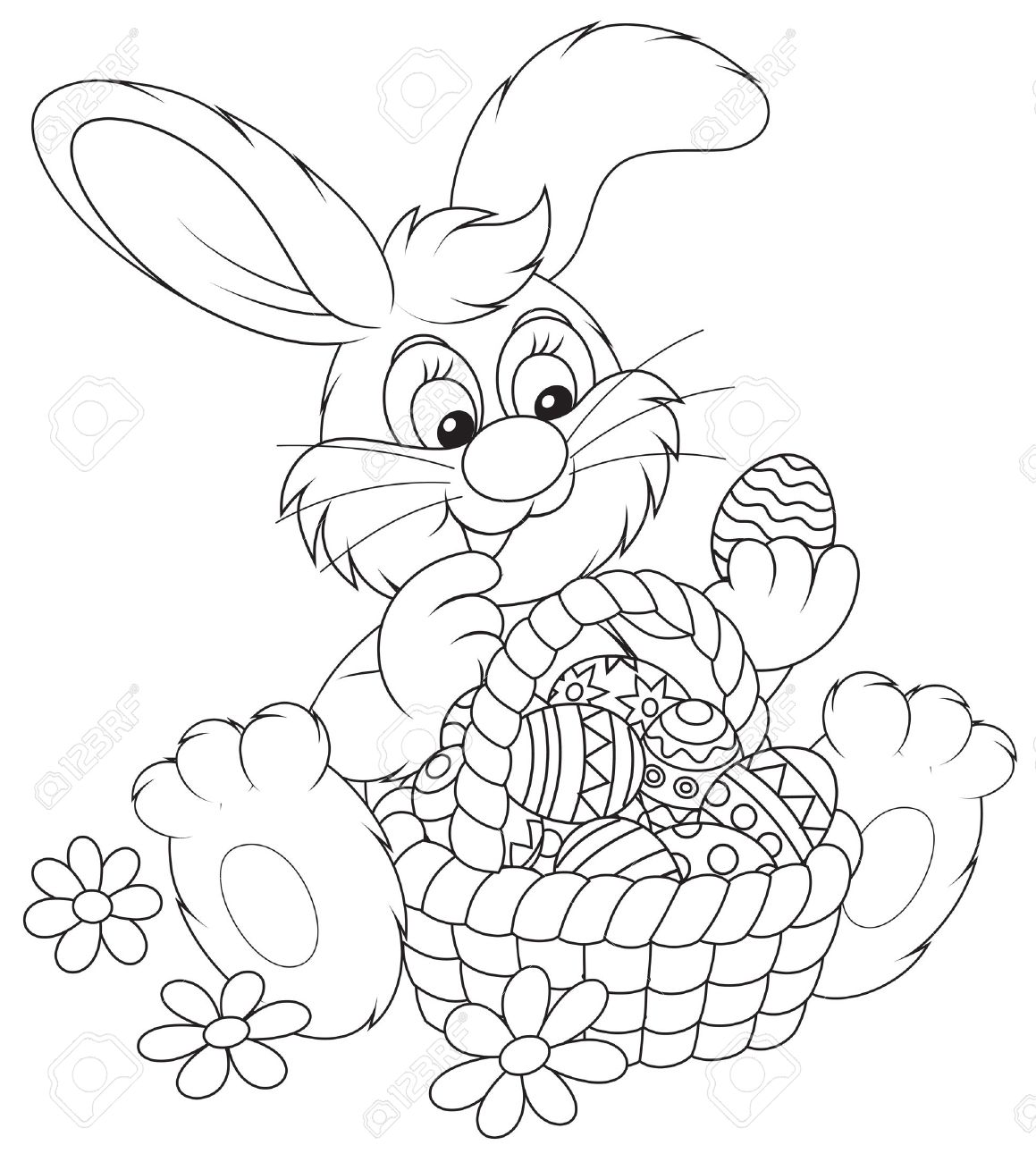 1159x1300 Easter Bunny With A Basket Of Painted Eggs Royalty Free Cliparts