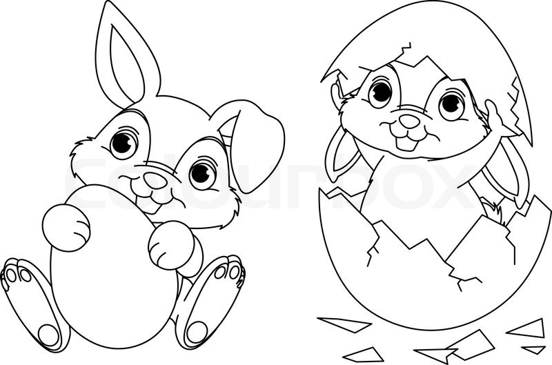 800x529 Black And White Easter Bunny Coloring Page Stock Vector Colourbox