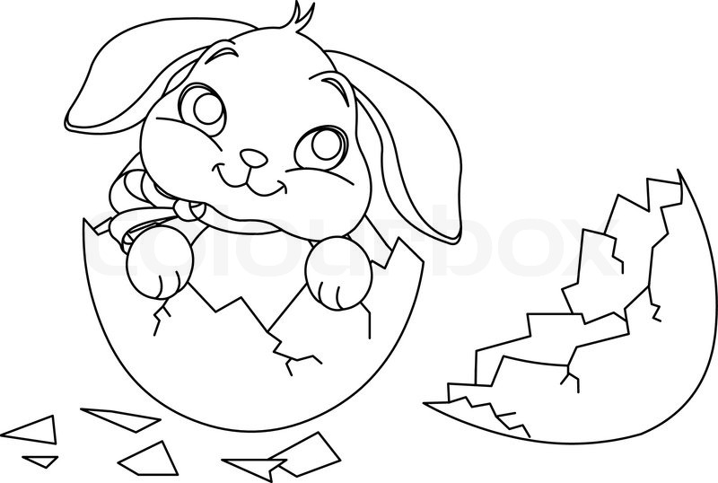 800x538 Easter Bunny Sitting In The Broken Easter Egg. Coloring Page