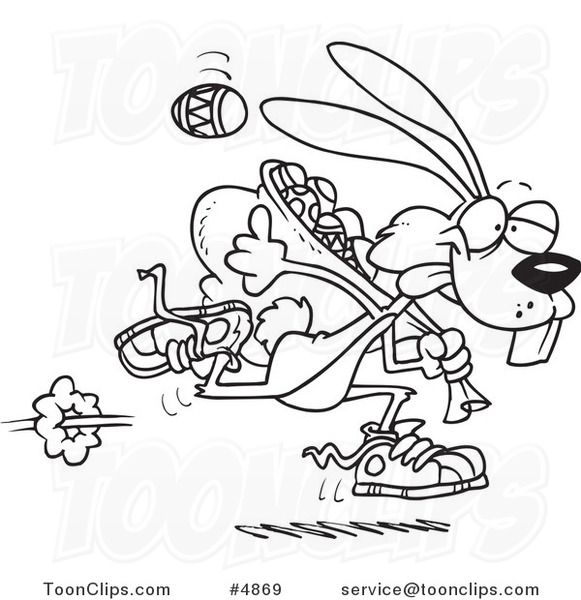 581x600 Cartoon Black And White Line Drawing Of An Easter Bunny Running