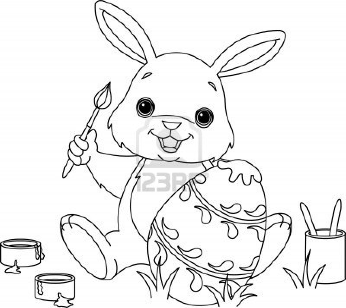 This is an image of Free Printable Easter Bunny Coloring Pages pertaining to animal